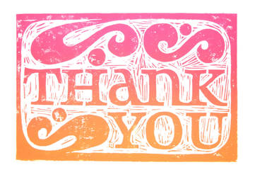Thank You Card, Linocut by brandonsch1