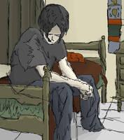 me, sitting on my moms bed by Yarrum2