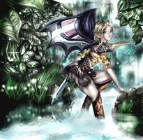 Elf warrior in savage nature by kawaiikitteny