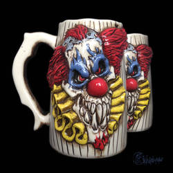 Evil Clown Beer Mug by kachaktano