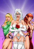 Gwen Stacy, Black Cat and Mary Jane by Ed Benes by winchester01