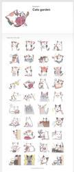 Cats garden/ Line sticker by shadowsinking