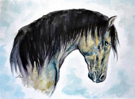 Horse in blue by LauraMSS