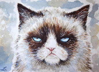 Grumpy cat watercolor by LauraMSS