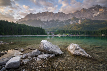 Early morning at lake Eibsee by juergenrockmann
