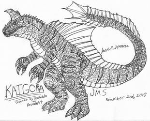 Request-Kaigora Inked BW by JacobSpencerKaiju79