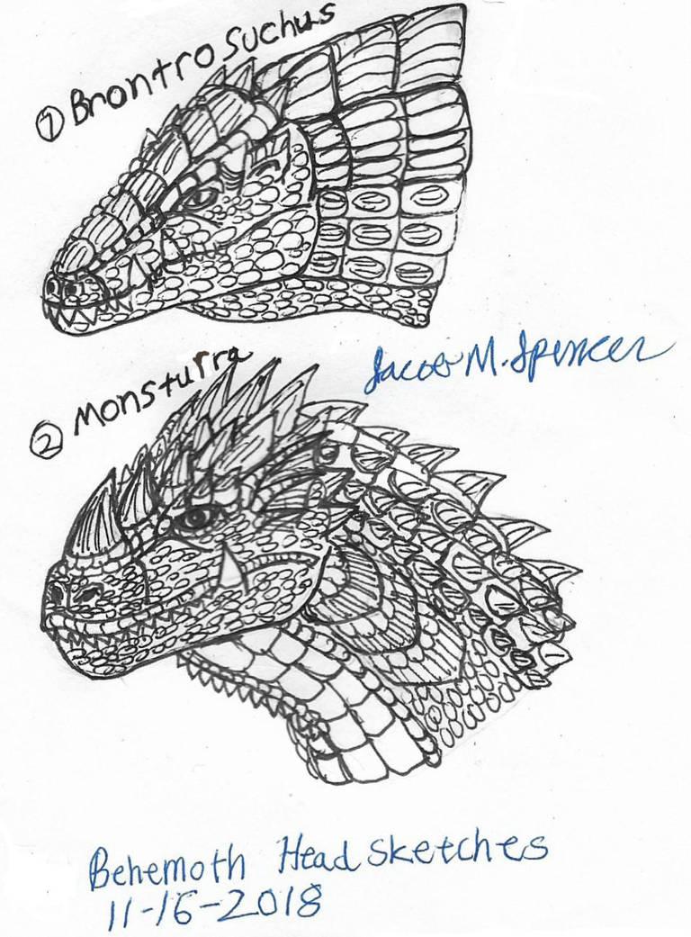 Behemoth Head Sketches 11-16-2018 by JacobSpencerKaiju79