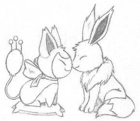 Skitty and Eevee Snuggling by sunnyfish