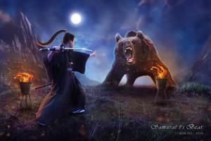 Samurai vs Bear by Son-Do