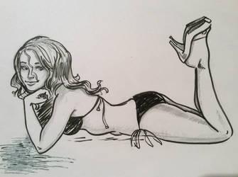 Bikini Girl Sketch by Spencey