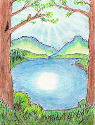 Lakeside landscape by Kradath
