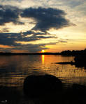 Sunset on the lake by MissTanuki