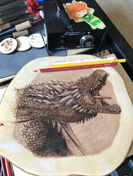 Drogon.  Game of Thrones. Pyrography on Cedar Wood by ScratchedandBurnt