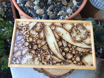 Pyrography Koi Fish Pond Wooden Box by ScratchedandBurnt