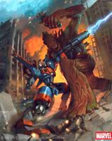 Groot vs Rocket Racoon by Denstarsk8
