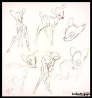 -Bambi Sketches- Disney Bambi FanArt -KutkuMegsan- by KutkuMegsan