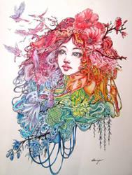 Birds and flowers by Doringota