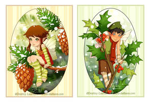 Pine and Holly Fairies by Dalliann