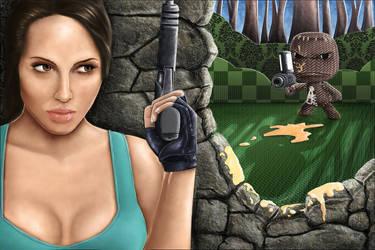 Lara Vs Sackboy by snakes23