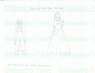 Mario and Princess Peach Model Sheet (Uncolored) by Maestro-Tomy