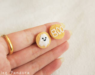 Happy ghost cookies saying 'boo' ear studs by Ice-Pandora