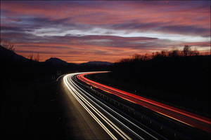 Dusk on the Highway by ZeSly