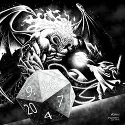 Inktober 2018 - Day 16 - Gandalf vs Balrog by MooneeArt