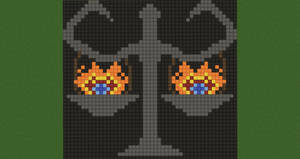 Burning Balance Scales Pixel Art (Original) by Nonamewayward