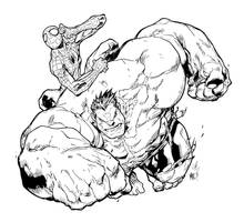 Marvel Team-up - Spiderman and Hulk by DynamixINK