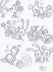More Oswald and Mickey doodles by DB-artwork