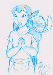 Lilo And Stitch Sketch by DB-artwork
