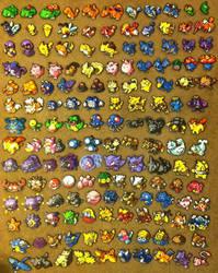 Perler Art: 151 Pokemon by thewiredslain