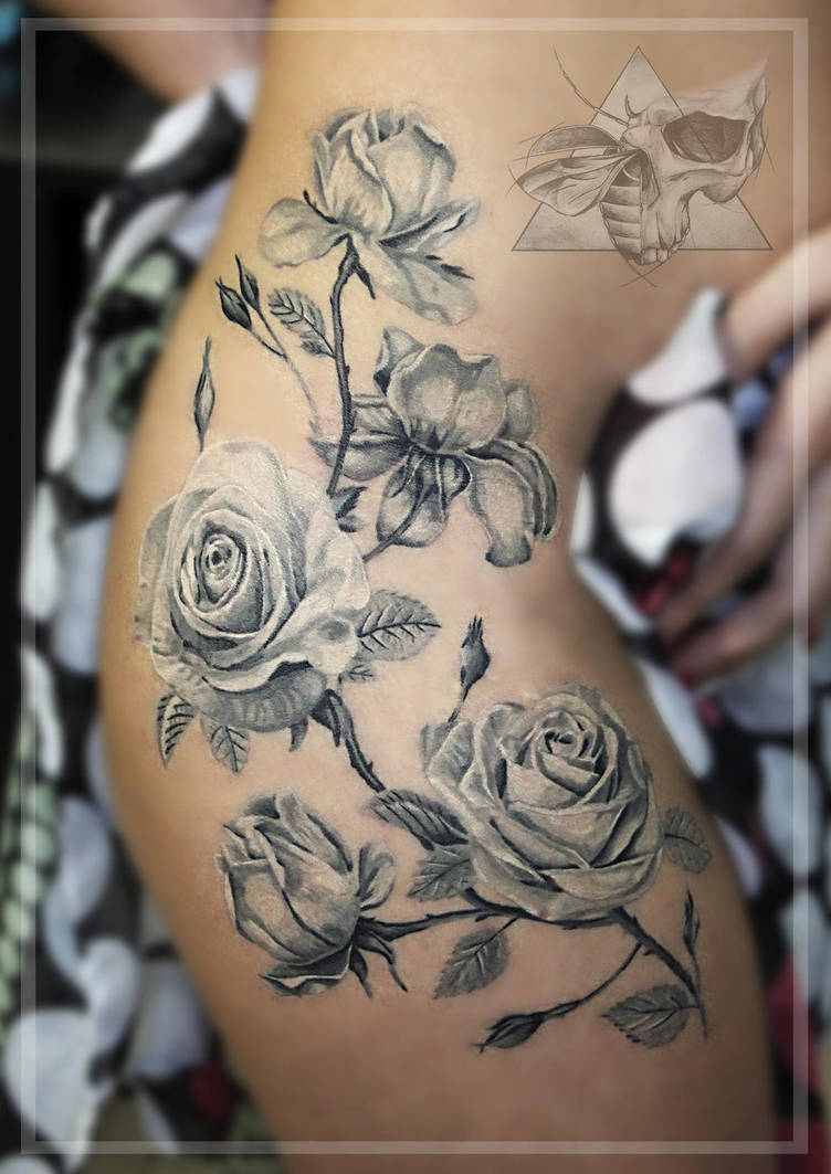 Roses Black And Grey Tattoo By Iseeyoursky On Deviantart