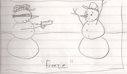 Snowman Hold Up by ridgl