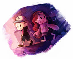 Dipper and Mabel by ElliEspy