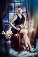 gold and black waspie by MorielCorsetry