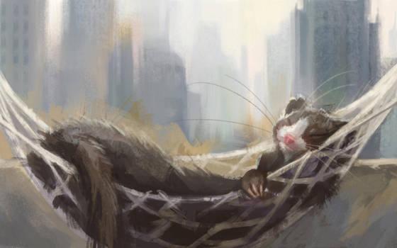 Sweet sleepy ferret by sans-art