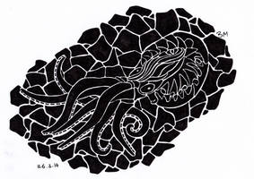 Fossilized Octopus by BMIllustration