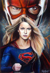Supergirl VS The Flash pastel drawing Fanart by FawnCorner