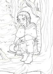 Sneaking between the trees -Lineart by ElsieDuBlog