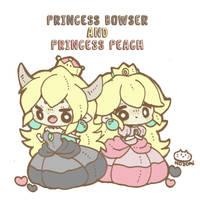 Princess Bowser and Princess Peach by nozomi-g