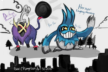 Day 7: Pokemon Fusions 2! Drifros and Heraver by IsaacChamplain