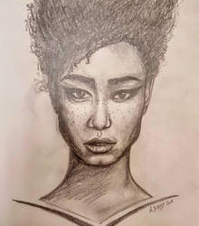 Black woman (portrait) by LezardJoyeux
