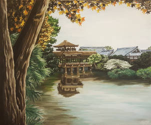 Japanese temple in summer - acrylic by LezardJoyeux