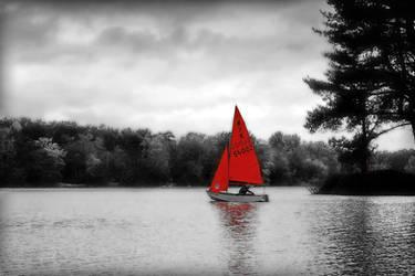 Red Boat on Hawley Lake by bullispace