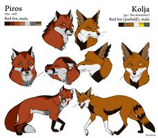 Reference Sheet - Piros and Kolja by BlueHunter