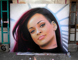 Rihanna - Graffiti portrait by mechanism0022