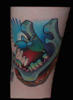 jaw bone tattoo by exilink