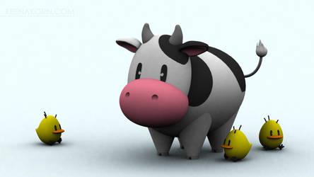 Harvest Moon Cow N' Chicks by keenakorn