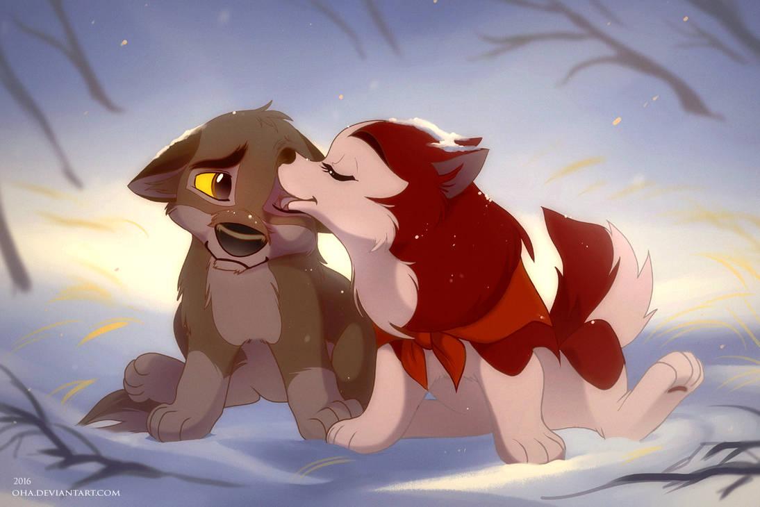 Jenna and Balto - puppy kiss by Oha
